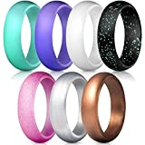 YSBER Women Silicone Wedding Ring - 7 Pack Comfortable Fit, Skin Safe, Non-Toxic - Silicone Finger Ring Couple Lover Jewelry Gift