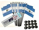 Pack of 12 4''x6'' Argentina Polyester Miniature Desk & Little Table Flags, 1 Dozen 4''x 6'' Argentine Small Mini Hand Waving Stick Flags with 12 Flag Bases (Flags with Stands)