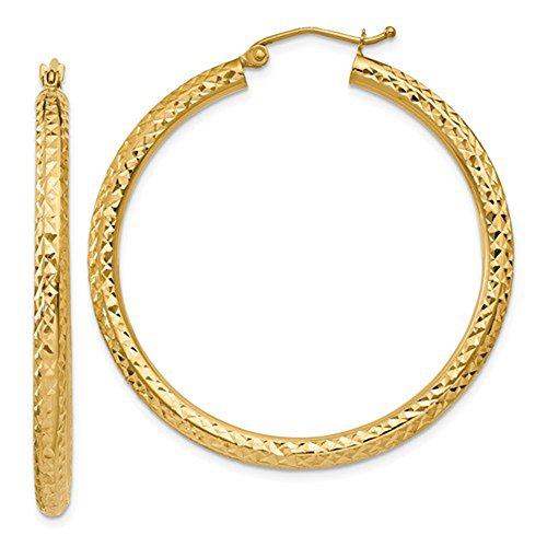 14K Yellow Gold Thick Diamond Cut Hoop Earrings, 40mm (3mm ()