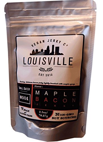 Louisville Vegan Jerky - Maple Bacon, Vegetarian & Vegan Friendly Jerky, 21 Grams of Non-GMO Soy Protein, Gluten-Free Ingredients