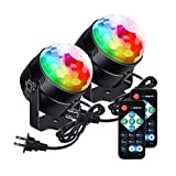 [Newest 2019]LUNSY Sound Activated Party Lights with Remote Control Dj Lighting, RBG Disco Ball Lamps, Strobe Lamp 7 Modes Stage Par Light for Home Dance Party Bar Xmas Wedding Show Club - (2PACK)