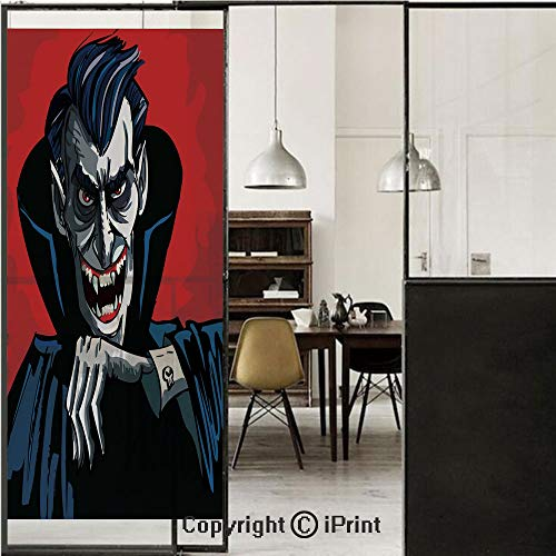Vampire 3D Decorative Film Privacy Window Film No Glue,Frosted Film Decorative,Cartoon Cruel Old Man with Cape Sharp Teeth Evil Creepy Smile Halloween Theme,for Home&Office,17.7x70.8Inch Blue Red Grey ()