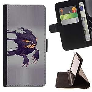For Sony Xperia M2 Case , Divertido Scary Ghost- la tarjeta de Crédito Slots PU Funda de cuero Monedero caso cubierta de piel