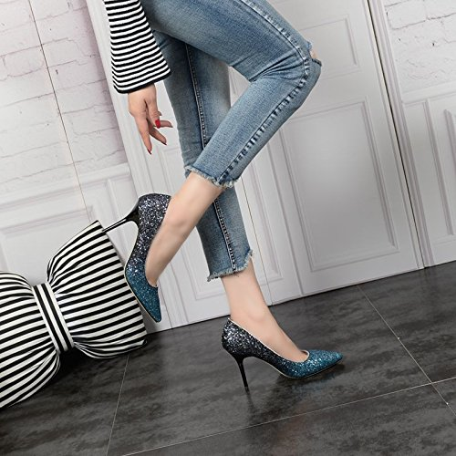 Head Heel Fine 35 5Cm Sharp Elegant Shallow Sexy Work Spring Single 8 Silver High Mouth Women'S Shoes Shoe MDRW Lady Green Heels Leisure Color 7wPq6q