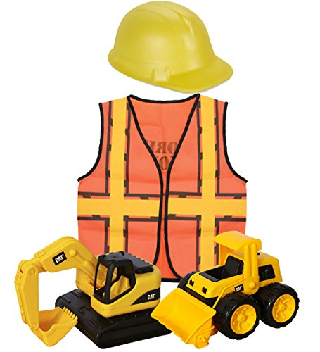 Yellow Foam Construction Hat (CAT Tough Tracks & Construction Worker Dress Up for Kids Bundle. Includes 2 CAT Tough Tracks Construction Toys (Excavator & Loader) Kids Construction Worker Vest & Foam Construction Hat)