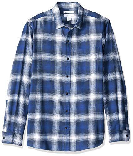 Amazon Essentials Men's Slim-Fit Long-Sleeve Plaid Flannel Shirt, Blue Ombre, Large ()