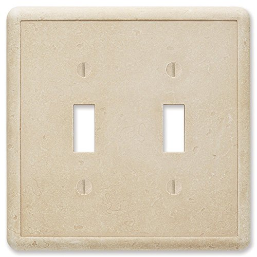 - Questech Travertine Tumbled Textured Wall Plate/Switch Plate/Outlet Cover (Double Toggle Switch)