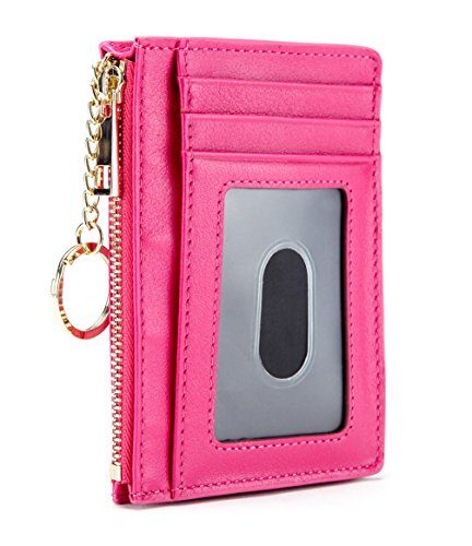 Slim Genuine Leather Credit Card Holder Front Pocket Wallet with ID Window Zipper Pocket Key Chain RFID Blocking - Hot Pink