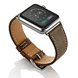 (US) Elobeth for Apple Watch Band,iWatch band Genuine Leather Single Tour Watch Strap Wrist Band Replacement Clasp for Apple Watch & Sport & Edition (42mm Etoupe)