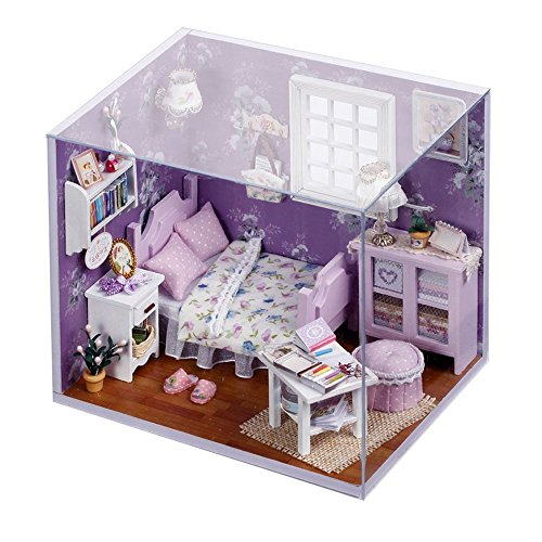 Wind New Dollhouse Miniature DIY Dream House Kit with Cover and LED Wood Toy Model Handcraft Birthday Gift