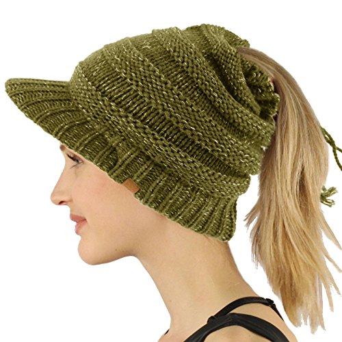 Beanie Visor Olive (SK Hat Shop Everyday Open Top Messy Bun Ponytail Stretchy Knit Visor Beanie Skull Hat Olive)