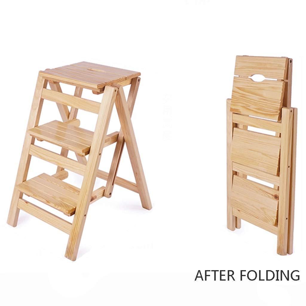 Beige 425666cm Stools Ladder Three-step Ladder Foot Ladder Multi-function Folding Ladder Indoor Mobile Climbing Ladder Dual-use Increased Ladder Solid Wood (color   Brown, Size   42  56  66cm)