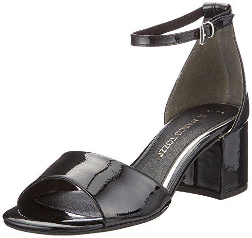Patent Sandales Marco Black Bride Tozzi Noir Femme 28316 Cheville Hgnaw8nqR7