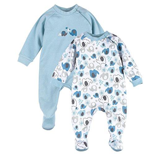 BORNINO Schlafoverall im 2er Pack Baby-Nachtwäsche Baby-Schlafanzug, Größe 86/92, blau