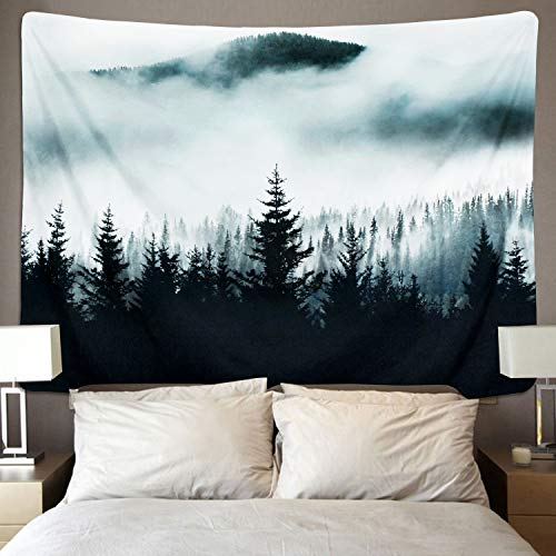 BLEUM CADE Misty Forest Tapestry Mountain Tapestry Wall Hanging Fantastic Fog Magical Trees Tapestry Nature Landscape Tapestry for Bedroom Living Room Dorm (Misty Forest with Mountain, 51.2