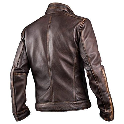 Distressed Jacket Brown F Giacca Leather Uomo Smoke New Piumino Red Cafe Racer P1wpZq8x8
