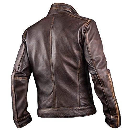 7ba2118cf Spazeup Men's Biker Cafe Racer Vintage Motorcycle Distressed Brown Leather  Jacket
