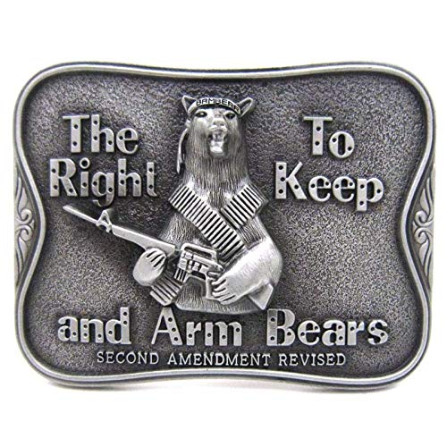 Buckes - The Right to Keep and Arm Bears Second Amendment Revised Fun Funny Belt Buckle ()