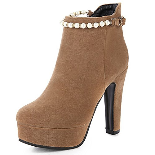 HiTime Ladies Charmingly Pearls Beaded Short Boots High Chunky Heels Zip Dress Boots Size 2-8.5 Khaki