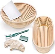 Gimars Sturdy Natural Rattan Banneton, 9 inch Round+10.7 inch Oval Bread Proofing Basket Kit with Bread Lame +