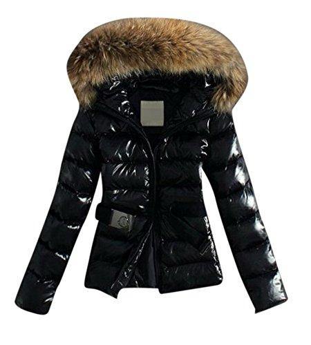 Fur Trim Tweed - Enlishop Women's Winter Elegant Black Slim Fur Trim Hooded Down Coat Jacket