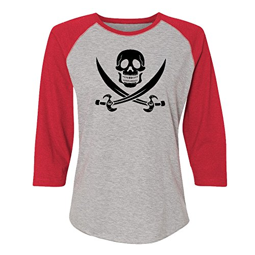 - Mashed Clothing Pirate Skull & Crossbones (Black Print) Women's Baseball T-Shirt (Red, 2XL)