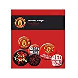 Football Gifts - Manchester United Fc Gift Ideas - Official Manchester United Fc Button Badge Set - A Great Present For Football Fans