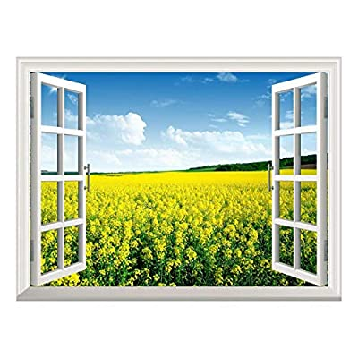 Stunning Technique, Removable Wall Sticker Wall Mural Yellow Field View Out of The Open Window Creative Wall Decor, Created By a Professional Artist