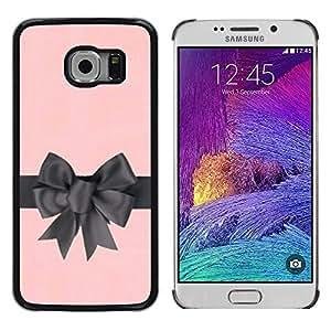 Caucho caso de Shell duro de la cubierta de accesorios de protección BY RAYDREAMMM - Samsung Galaxy S6 EDGE SM-G925 - Silk Gift Pink Grey Wrapper