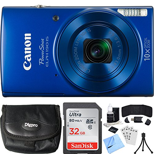 Canon PowerShot ELPH 190 IS Blue Digital Camera 64GB Card Bundle includes Camera, 64GB Memory Card, Reader, Wallet, Case, Battery, Mini Tripod, Screen Protectors, Cleaning Kit and Beach Camera Cloth For Sale