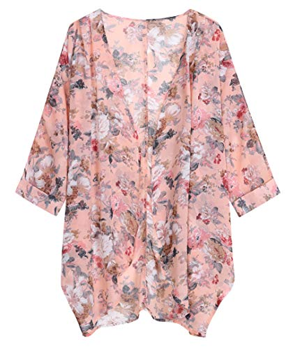 Tribear Women's Sheer Chiffon Kimono Cardigan Solid Casual Capes Beach Cover up (Large, Baby Pink)