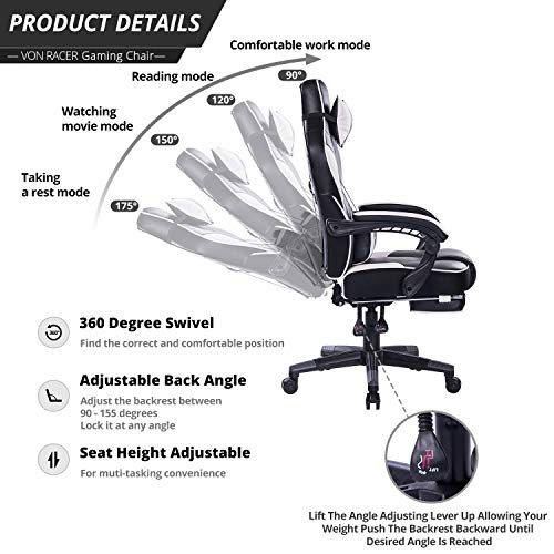 VON RACER Massage Reclining Gaming Chair - Ergonomic High-Back Racing Computer Desk Office Chair with Retractable Footrest and Adjustable Lumbar Cushion (Gray) by VON RACER (Image #1)