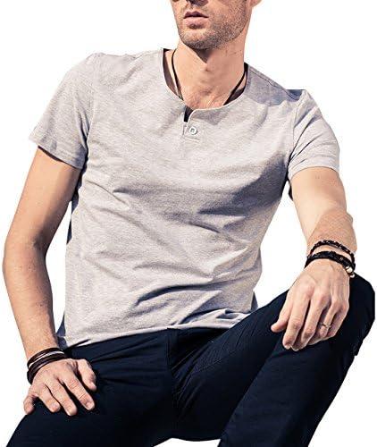 [Patrocinado] LTIFONE Mens Casual Slim Fit Short Sleeve T-Shirt Single Button Placket Plain Henley v Neck Shirt