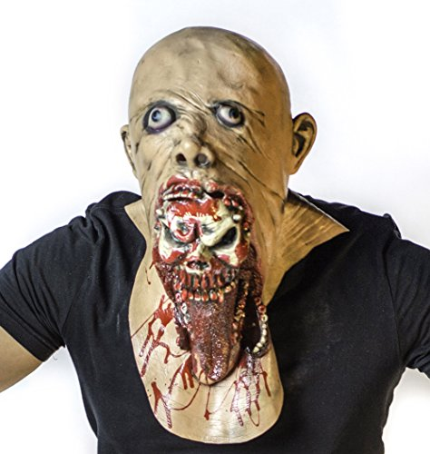 The Mask Biz Scary Face Skeleton in the Mouth Head Funny Mask Zombie (Skeleton Halloween Mask)