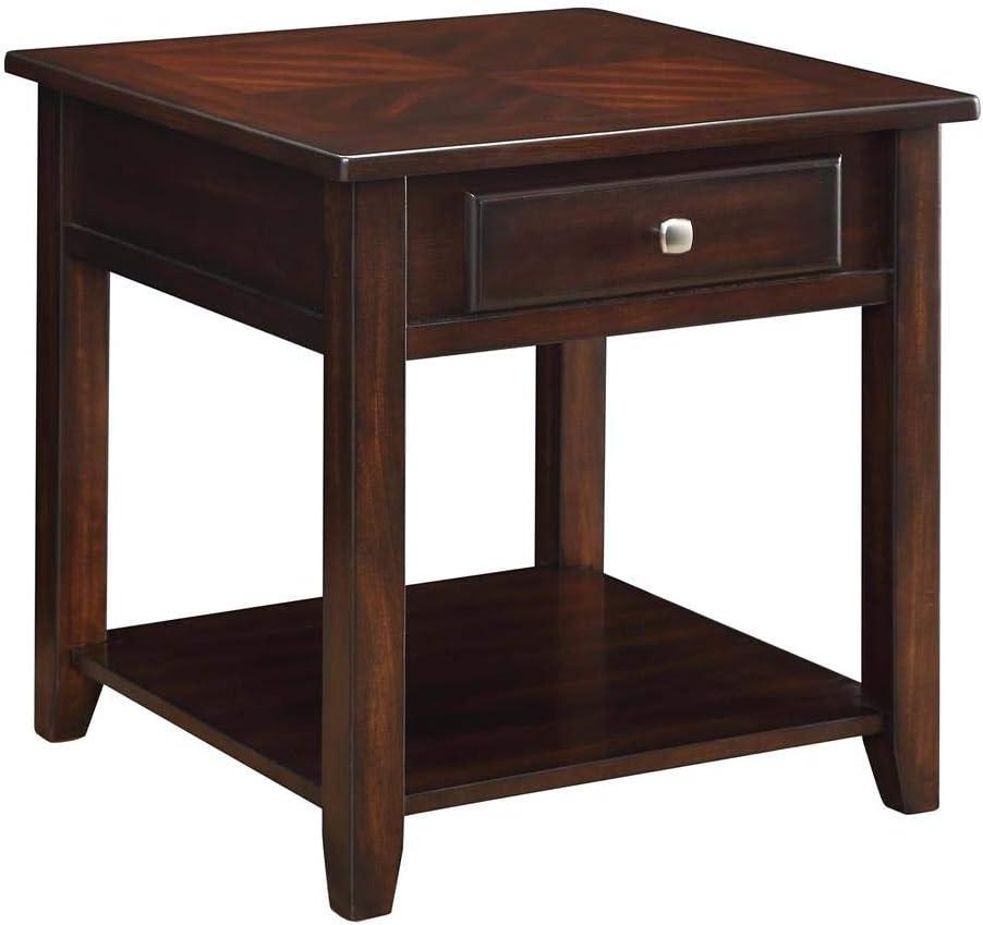 Coaster Home Furnishings Square 1-shelf End Table, Walnut