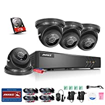 ANNKE 720p HD Security System 1080N DVR Recorder with 1TB Hard Drive and (4) Weatherproof Surveillance Cameras,Remote Access Motion Detection
