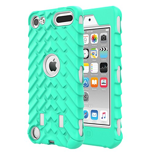 Touch Ipod Green (MoKo Case for iPod Touch 6/iPod Touch 5, 3 in 1 Heavy Duty Shock Absorbing Hybrid Bumper Protective Case Cover for Apple iPod Touch 6th/5th Generation, Light Green)
