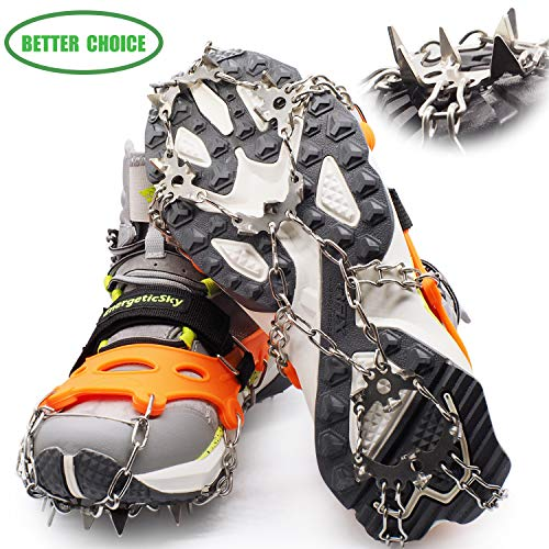EnergeticSky Crampons for Shoes,Anti-Slip Traction Ice Cleats Snow Grips with 19 Spikes Stainless Steel for Walking,Jogging,Climbing,Hiking-by LYSHION