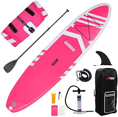 PEXMOR Inflatable SUP 10 6 30 6 Ultra-Light 19.6lbs for All Skill Levels Stand Up Paddle Board with Adustable Paddle, Hand Pump Hand Pump with PSI Gauge, ISUP Travel Backpack, Leash, Repair Kit
