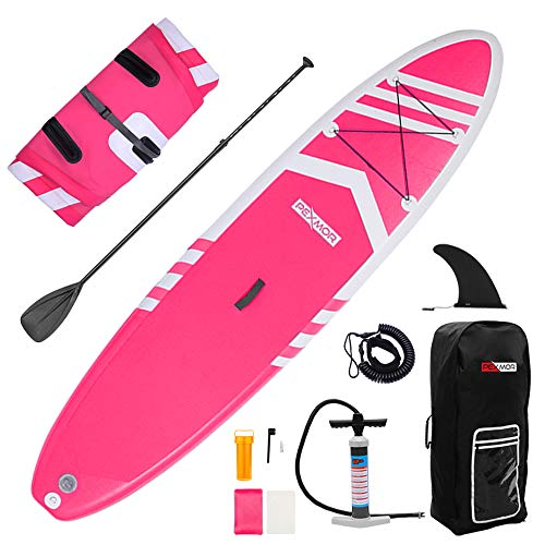 "PEXMOR Inflatable SUP 10'6""×30""×6"" Ultra-Light (19.6lbs) for All Skill Levels Stand Up Paddle Board with Adustable Paddle, Hand Pump Hand Pump with PSI Gauge, ISUP Travel Backpack, Leash, Repair Kit"