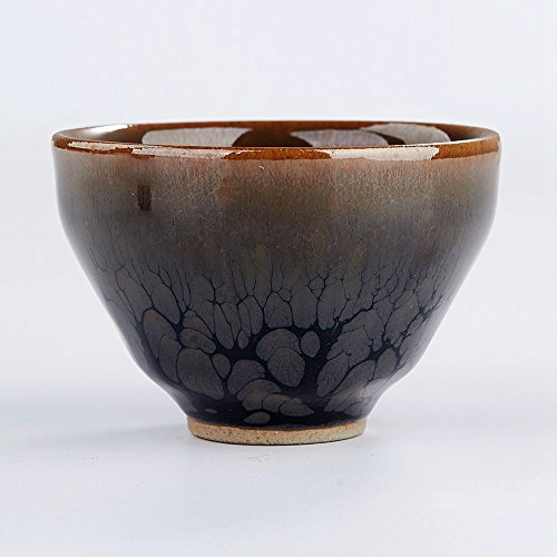 Yan Hou Tang - Earth JianZhan Tenmoku Tea Cup Bowl Cappuccinos 5 Elements Chinese FengShui Crafts Designer Collection Ceremony Ancient Style Handwork Handcrafted Oil Spot Sheaf Mouth Vitrified Surface by Yan Hou Tang (Image #2)