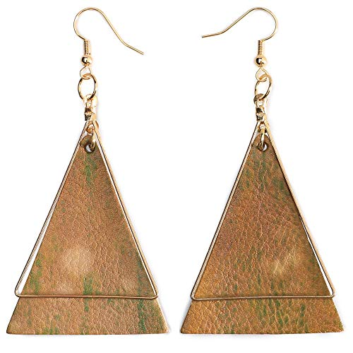 Genuine Leather Statement Earrings Triangle Geometric Leather Dangle Drop Geometric Lightweight for Women Girls (Putty)