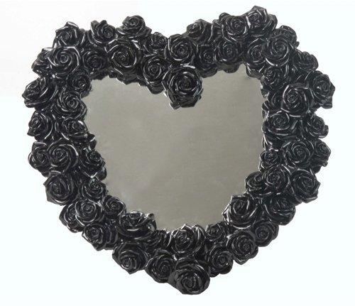 15.38 Inch Heart Shape Rose Wreath Decorative Mirror, Black -