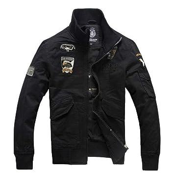 HUAN Chaquetas para Hombres Cazadoras Militares Casuales Chaquetas de algodón Abrigos más el tamaño para la caída de Primavera (Color : Negro, ...