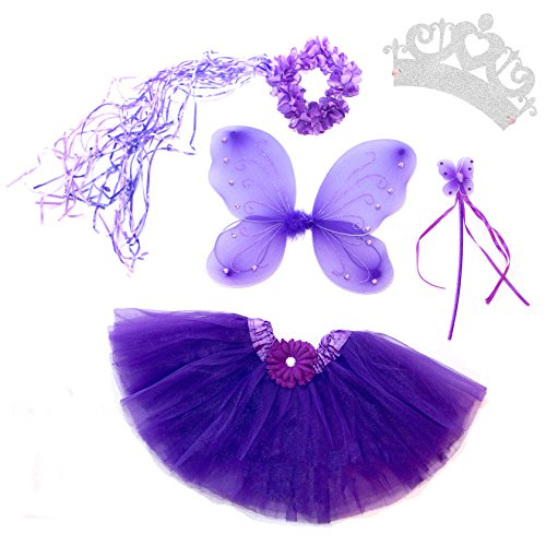 [5 Piece Shimmering Fairy Princess Costume Set (Purple)] (Purple Butterfly Wings Costumes)