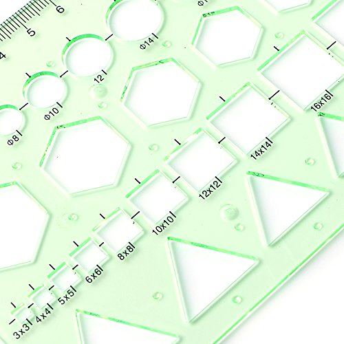 Misright Plastic Circle Square Hexagon Geometric Template Ruler Stencil Measure Tool NEW by Misright (Image #5)