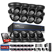 SANNCE Security Camera System with 16 Channel 1080N DVR Recorder and 12*720P Surveillance Cameras(2TB HDD)