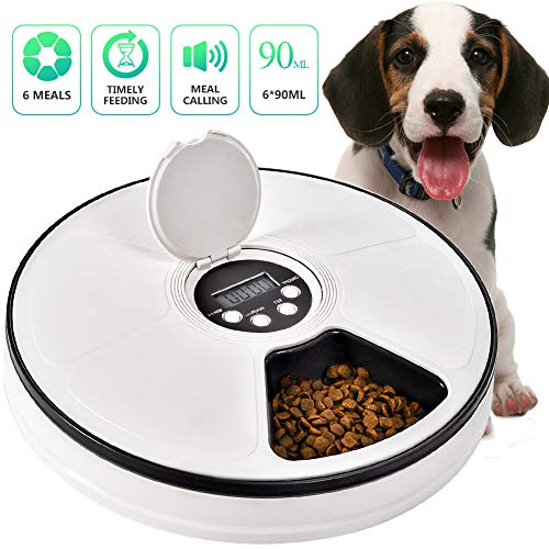 Automatic Pet Feeder Cats Dogs, 6 Meal Trays Dry Wet Food Dispenser with Voice Remind,LCD Smart Programmable Timed Self Container Digital Clock Portion (Black)