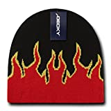 DECKY Girls and Boys Fire Comfortable Knitted Beanie_Black/Red/Yellow_One Size