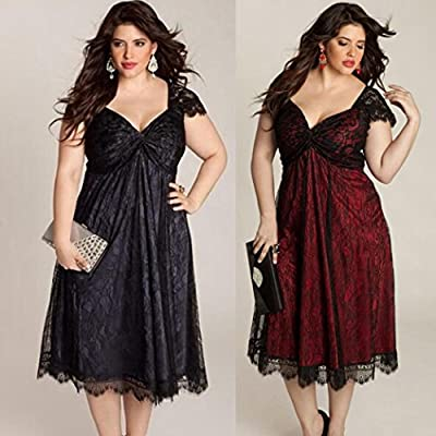 HODOD Women Plus Size Sleeveless Lace Cap-Sleeve V Neck Long Evening Maxi Vintage Tea Cocktail Party Prom Gown Formal Dress
